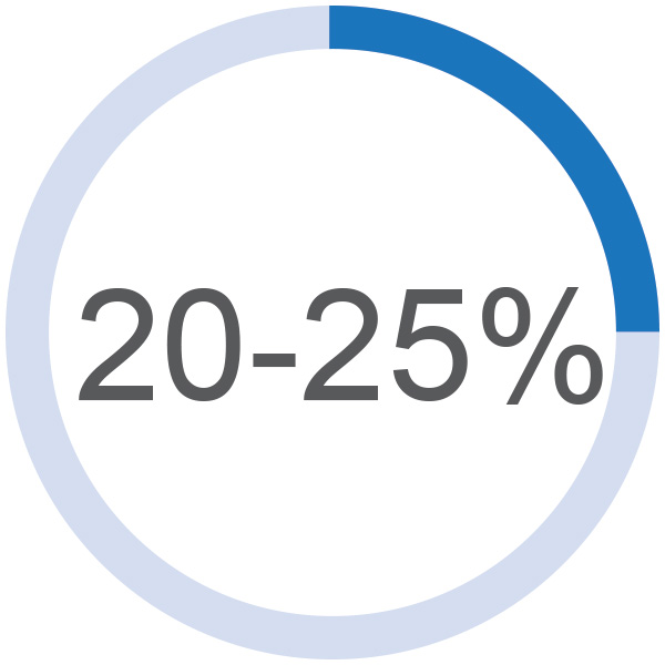 Circle graphic with twenty to twenty-five percent highlighted